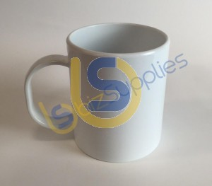 11oz Plastic (Polymer) White Mug for Dye Sublimation Printing - Dishwasher proof