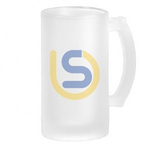 frosted glass beer stein 16oz