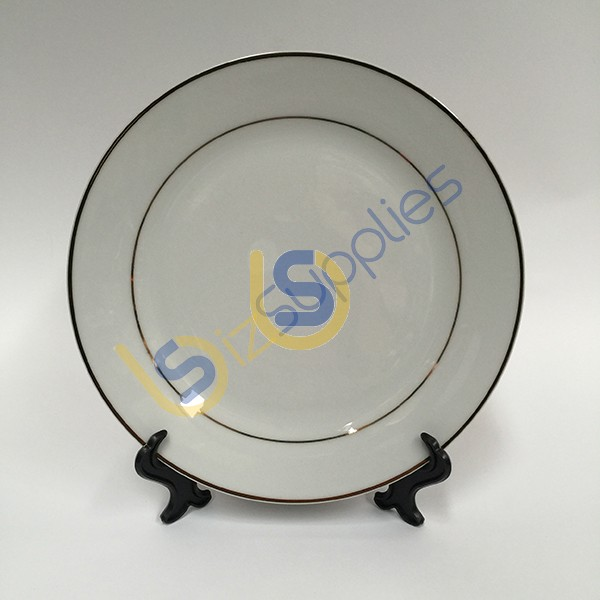 8 Gold Rim Ceramic Plate with Stand for Sublimation Printing & 8