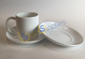 6oz Polymer White Mug with Polymere (Plastic) Saucer for Dye Sublimation Printing - Dishwasher proof