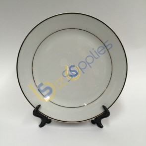 """10""""Gold Rim Ceramic Plate with Stand for Sublimation Printing"""
