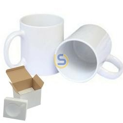 11oz White Ceramic Coffee Mug with Gift Box and Foam Inside for Dye Sublimation (Individual)